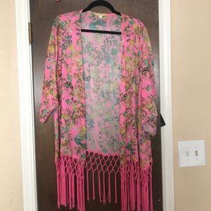 Hot pink floral kimono